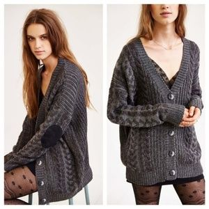 Olive & Oak Elbow Patch Knit Cardigan Sweater S